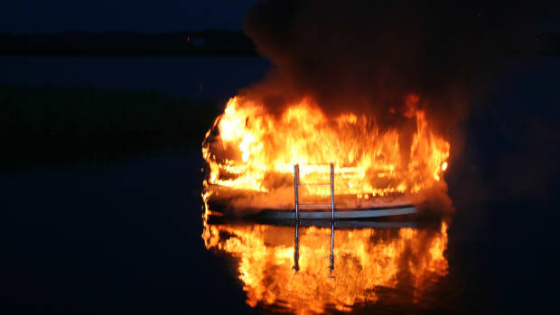 Burning Trawler