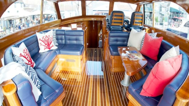 The interior of this Hinckley Tallaria is elevated by fresh upholstery.