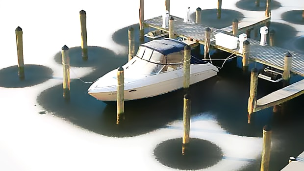 A lone yacht in a frozen marina is a recipe for disaster come spring time.