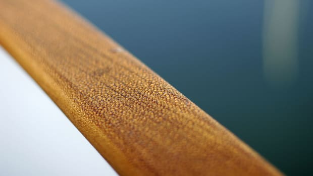 varnished rail on a trawler