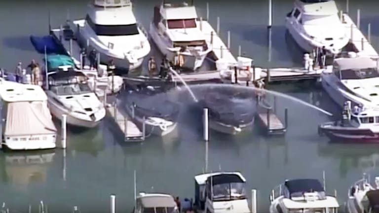 Boats Burn at Sandusky, Ohio, (Video, Audio)