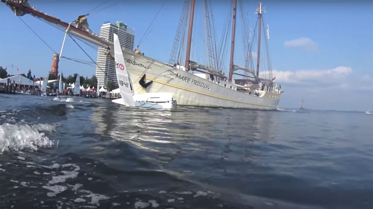Boating Collision: Tallship vs. Dinghy (Video)