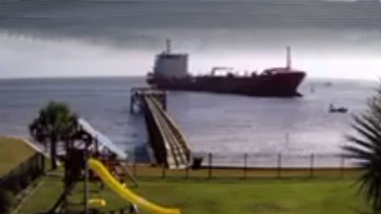 Tanker Grounds in North Carolina ICW, Keeps Going (Video)