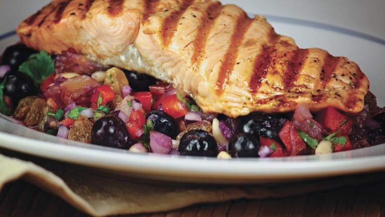 Grilled Salmon with  Wild Blueberry Salsa