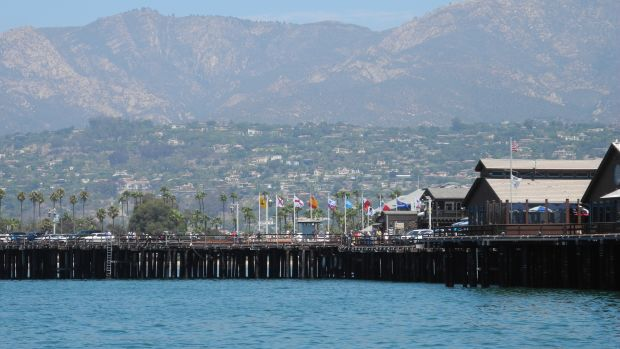 Santa Barbara's vast beaches run against a beautiful backdrop of Santa Ynez mountains.