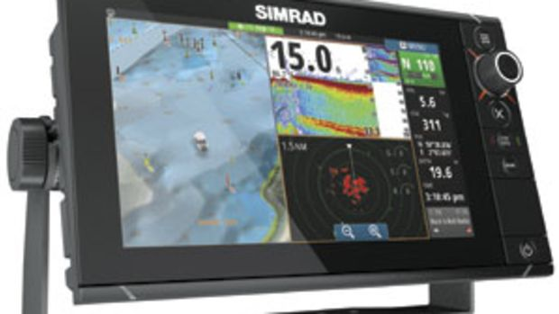 Simrad's touchscreen NSS evo2 retains physical controls, such as a rotary knob and real keys.