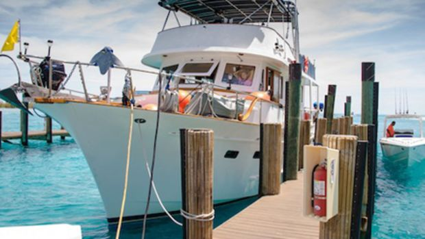 After four years of planning, and eight months living at anchor in the Florida Keys, Jay and Captain Karen Campbell headed from Key Biscayne and docked at Brown's Marina in Bimini, Bahamas.