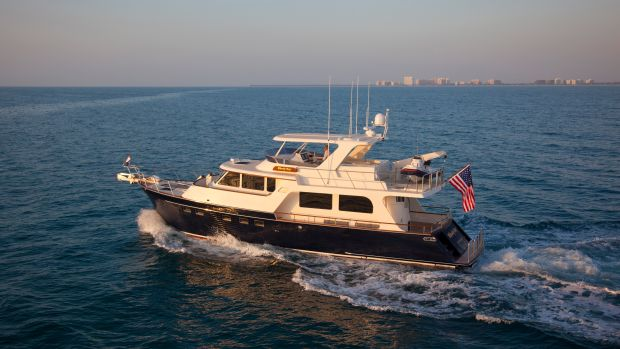 Marlow 57 running at the Miami Boat Show, Miami FL.