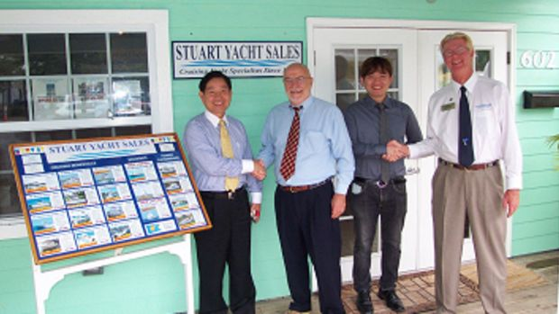 Left to Right: Wilson Lin, president of POCTA International; Andy Andreoli, broker for Stuart Yacht Sales, Louis Lin of POCTA and Bill Watson, president of Stuart Yacht Sales.
