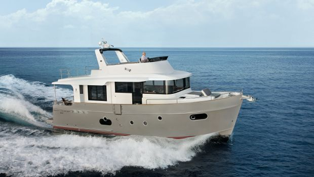 At high cruise the Swift Trawler 50 hull shows it dry running characteristics.
