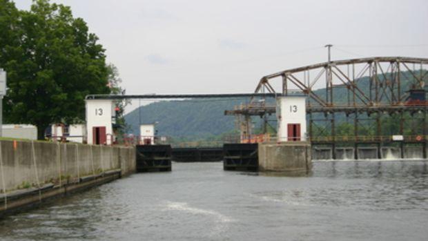 View inside lock E-13 form below the lower doors.