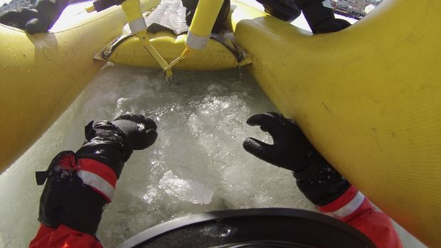 Ice rescue from the eyes of the 'victim'