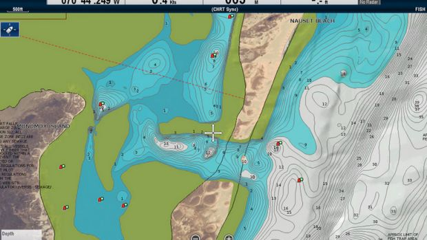 A Navionics chart shows the Chatham (Massachusetts) breakthrough with bathymetric contours as it appears on a Raymarine chartplotter.