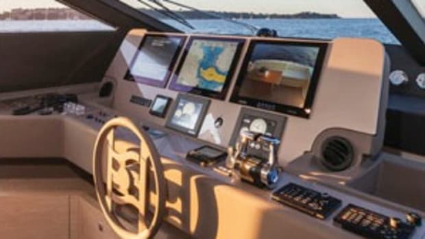 Big, bright Furuno displays speed the flow of data across the helm on the Ferreti 750.