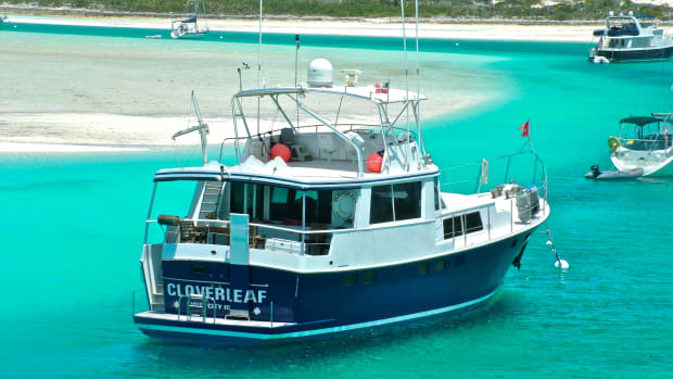 Cloverleaf is a 61-footer designed by Jim Krogen. Her 5½-foot draft was useful in navigating to places such as this, Warderick Wells in the Bahamas.