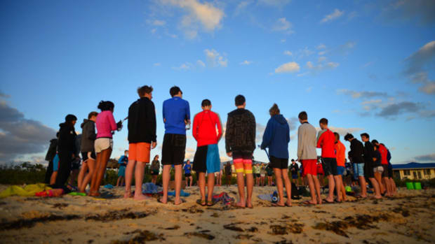 A morning exercise as the sun rises on Cape Eleuthera.