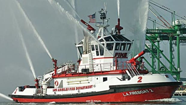 """Commonly called """"Fire Boat 2,"""" The Warner L. Lawrence (commonly called Fire Boat 2) was acquired by the Los Angeles Fire Department in 2003."""