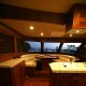 Galley and settee aboard the Marlow 49 Explorer.