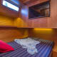 In the guest stateroom the bunks can be combined to form a full size single berth or be separated as two individual twins.