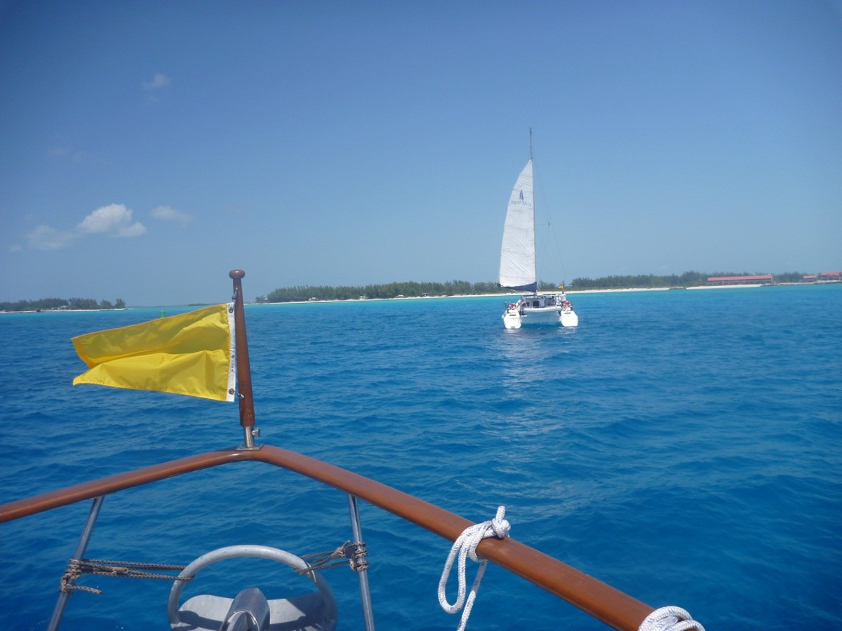 Flying the quarantine flag entering Bimini.