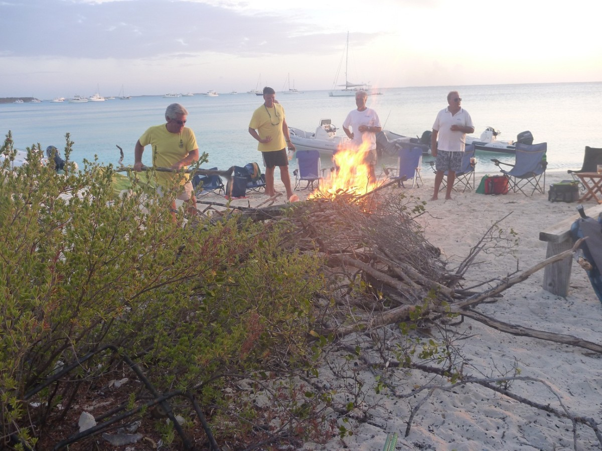 Bonfire on beach near Staniel Cay.