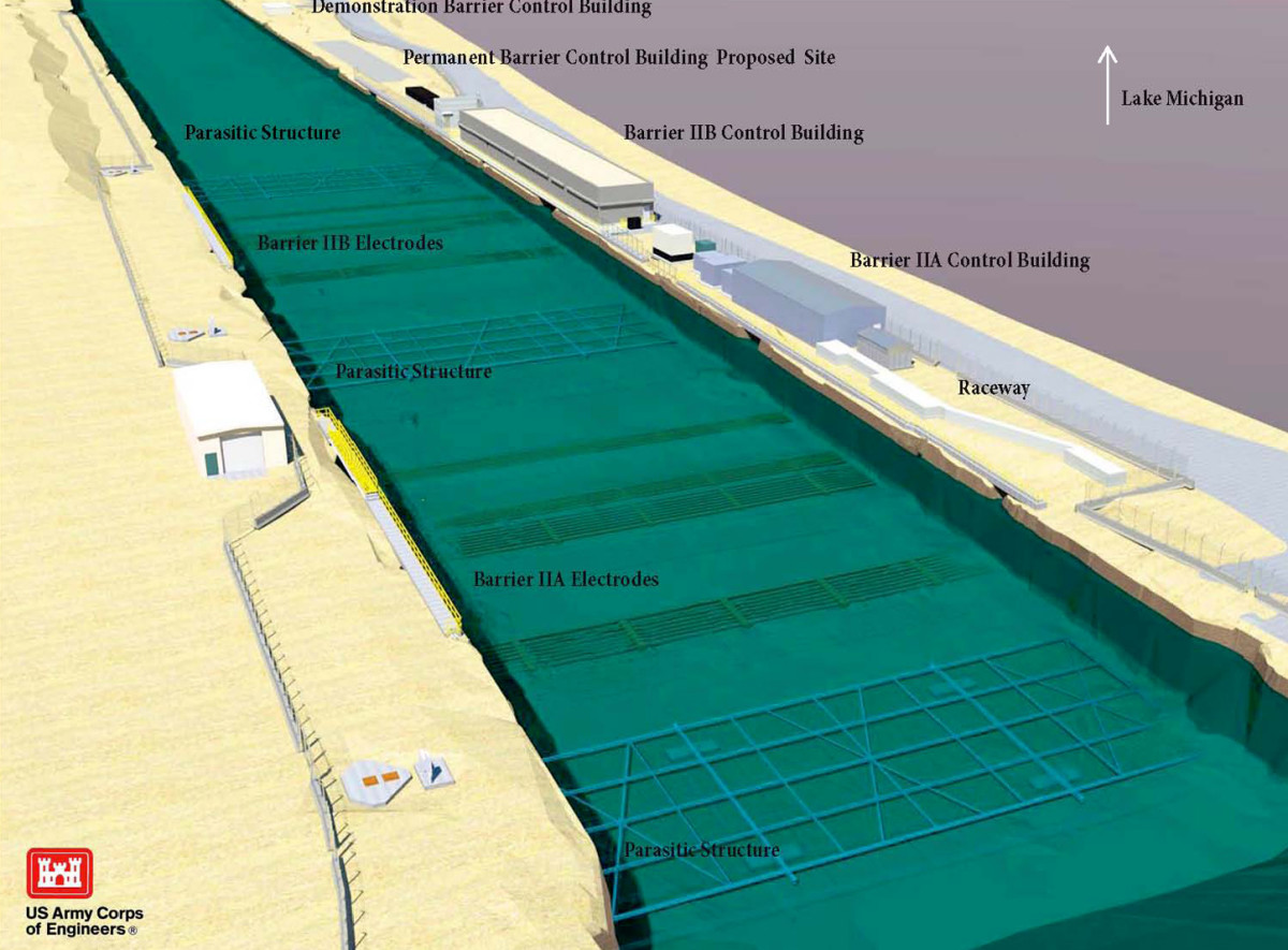 A 3D model of the canal shows the placement of electrified elements. (Click to enlarge)