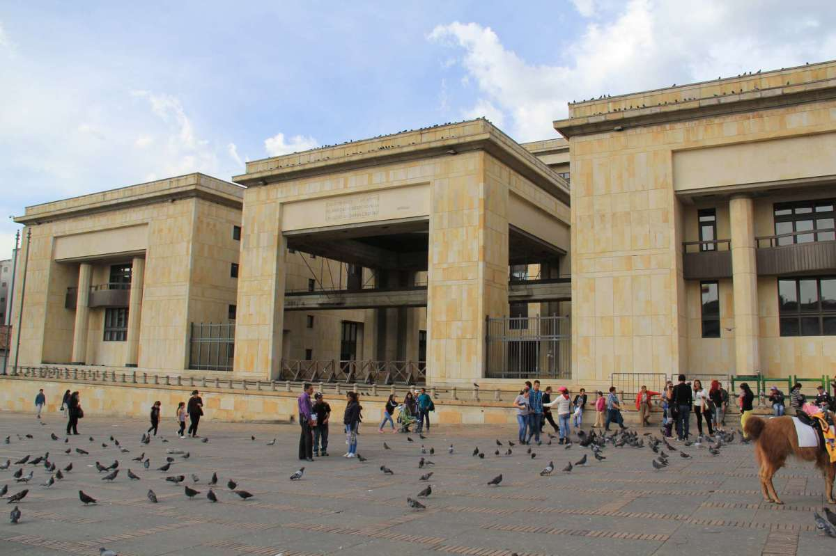 The new palace of justice; Pablo Escobar burned down the original.