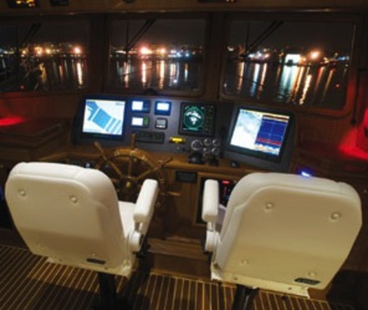 Kadey-Krogen buyers can choose any helm array, and some owners even do their own installation.