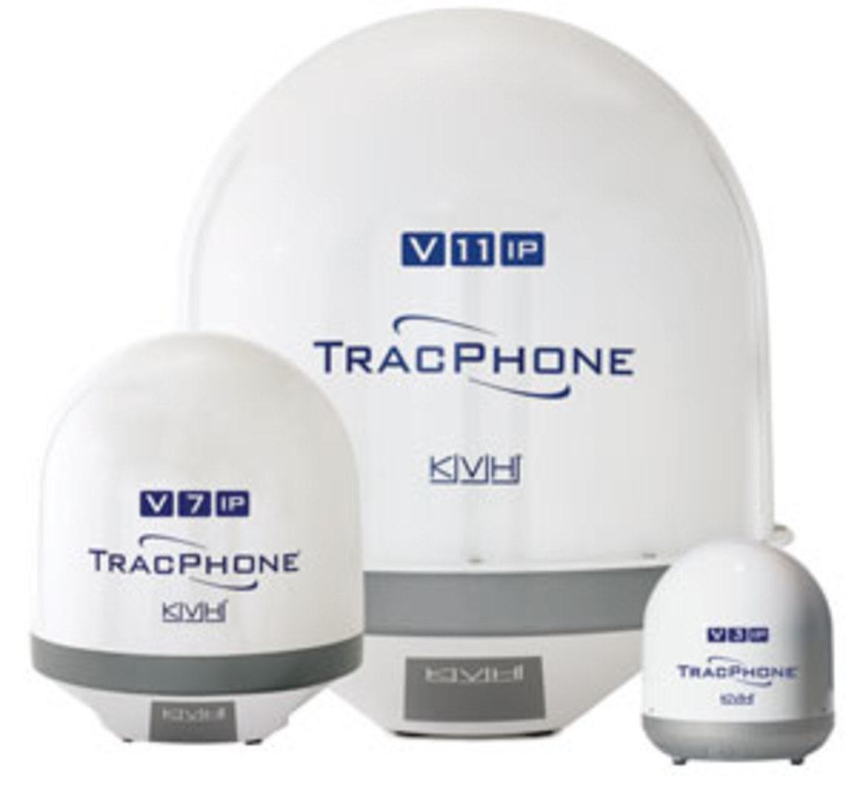 The KVH TracPhone Vip mini-VSAT broadband line offers a dome for nearly any boat size.