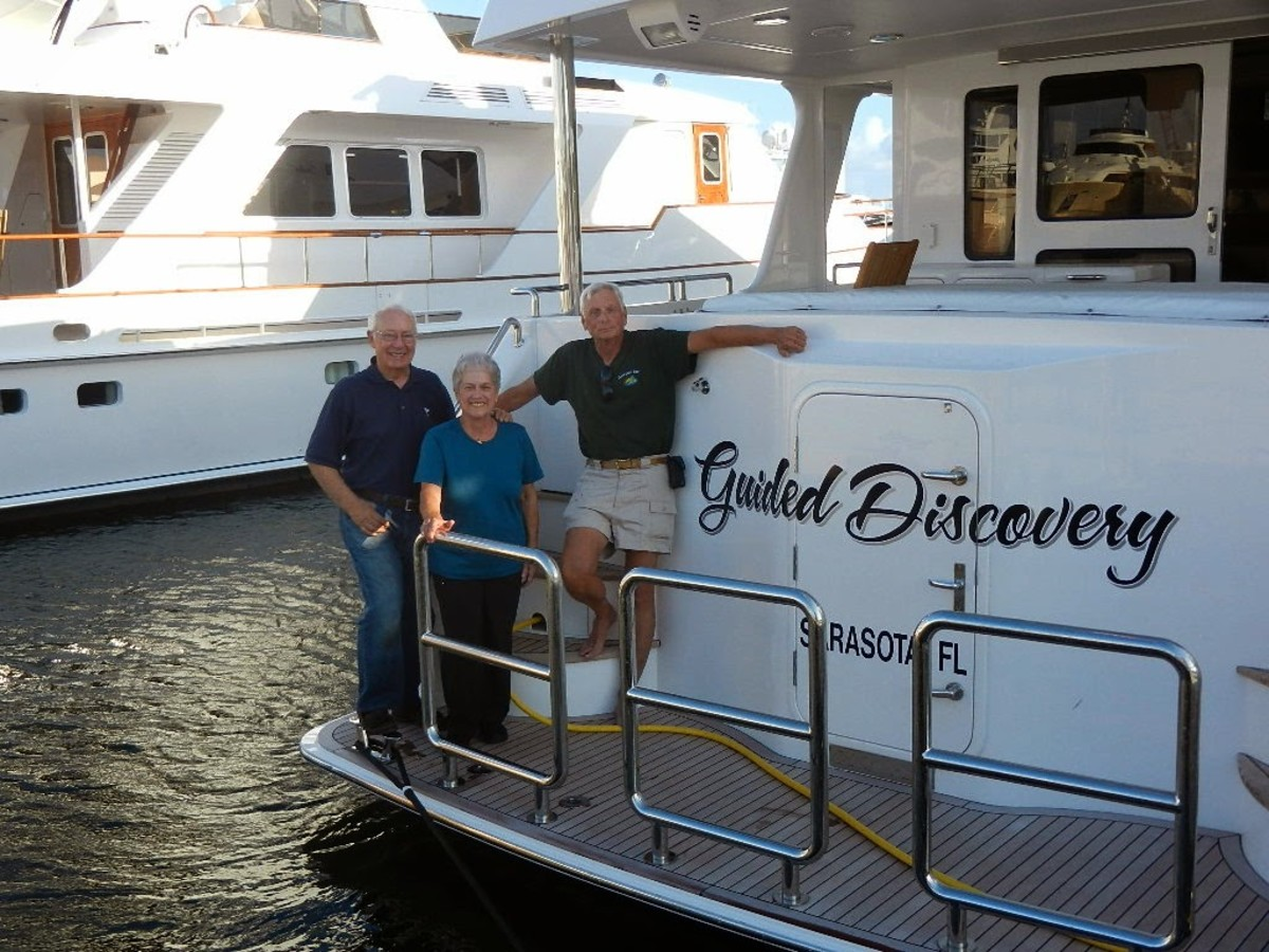Milt, Judy and myself standing on the swim platform of Guided Discovery.