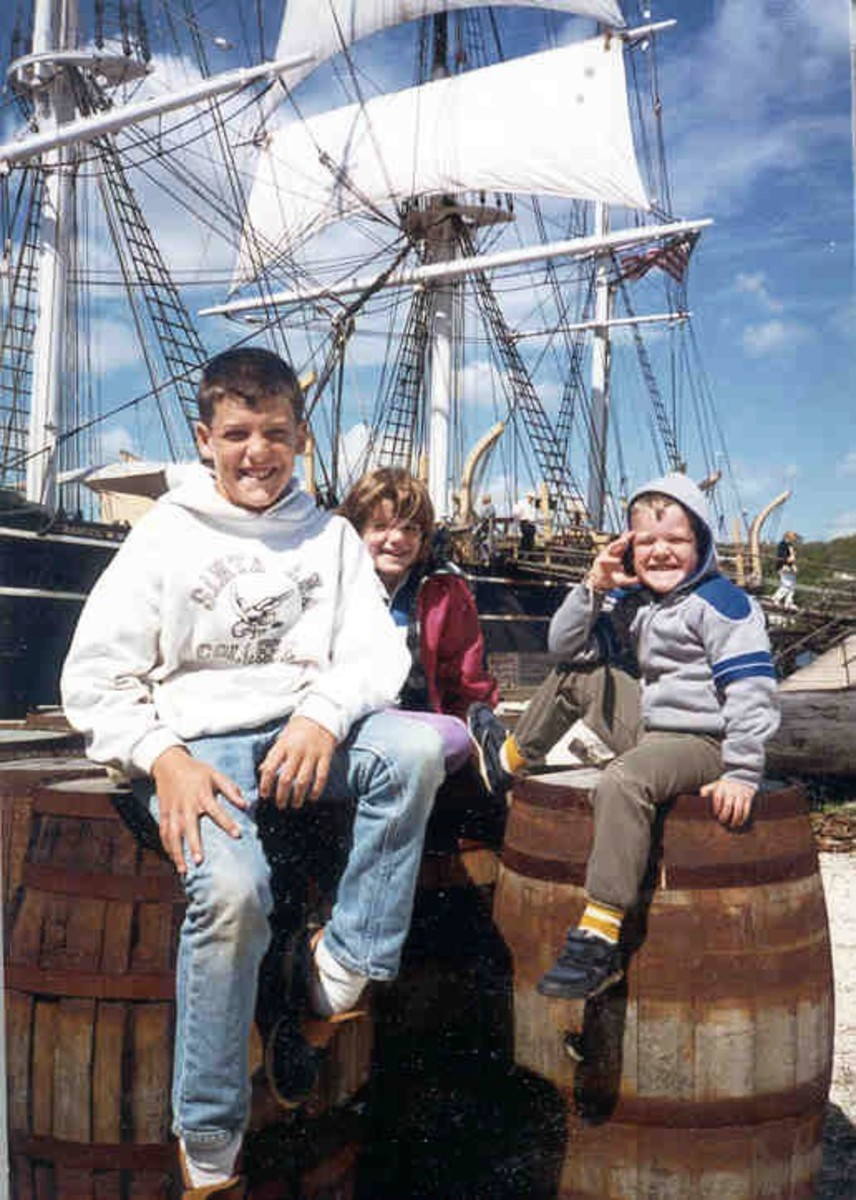 My kids in Mystic in 1987, behind them are the infamous masts Buzz and I climbed.