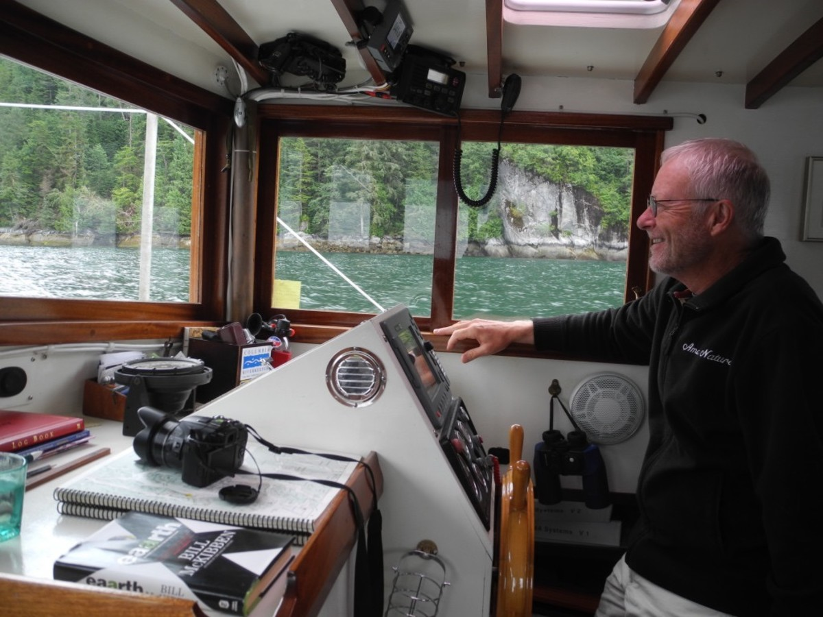 The author proudly piloting his dreamboat.