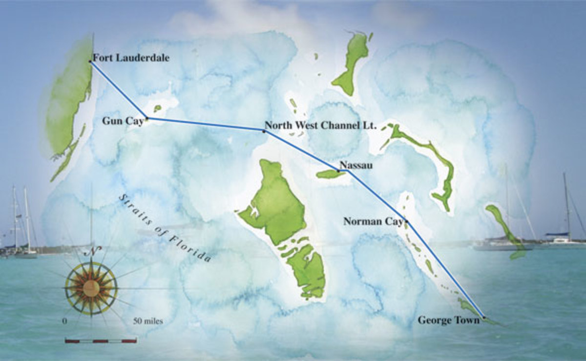 A map of our selected route through the Exumas. Click to enlarge.