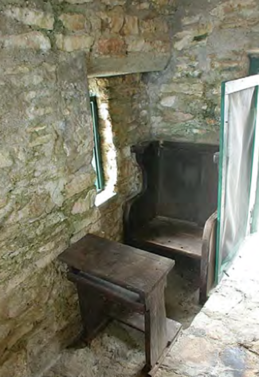 The Hermitage on Cat Island chapel contains just one pew.