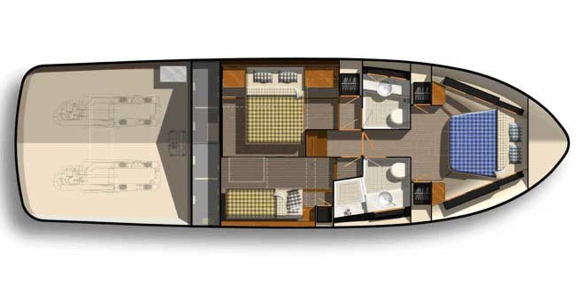 An optional layout features an extra twin and second full-sized berth.