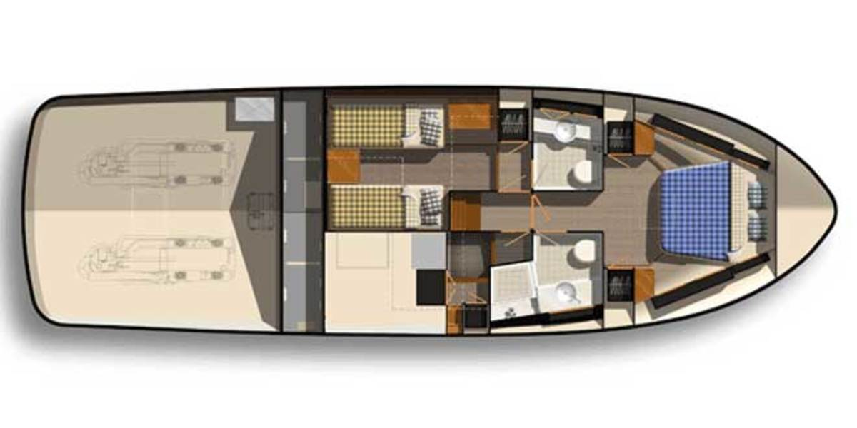 The 44's standard below deck layout.