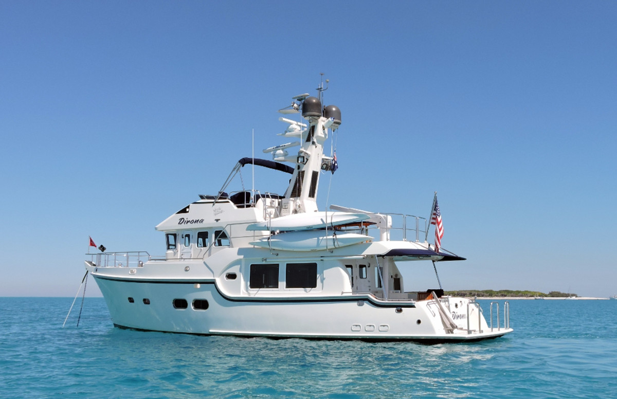 Dirona lies happily at anchor in Australian waters.