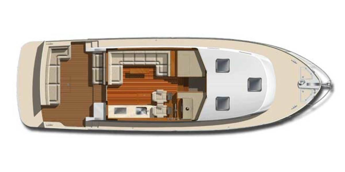The standard saloon features a galley-up layout.