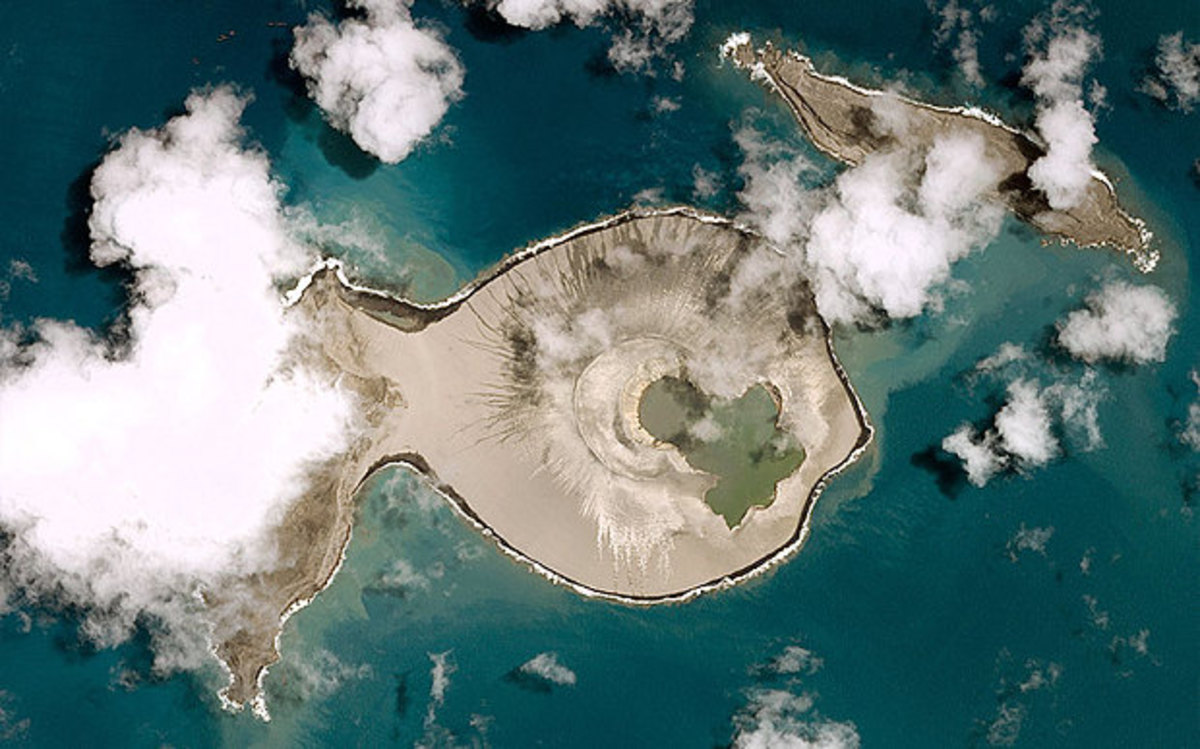 A post-eruption satellite photo shows the newly-formed island fused with Hunga Ha'apai.