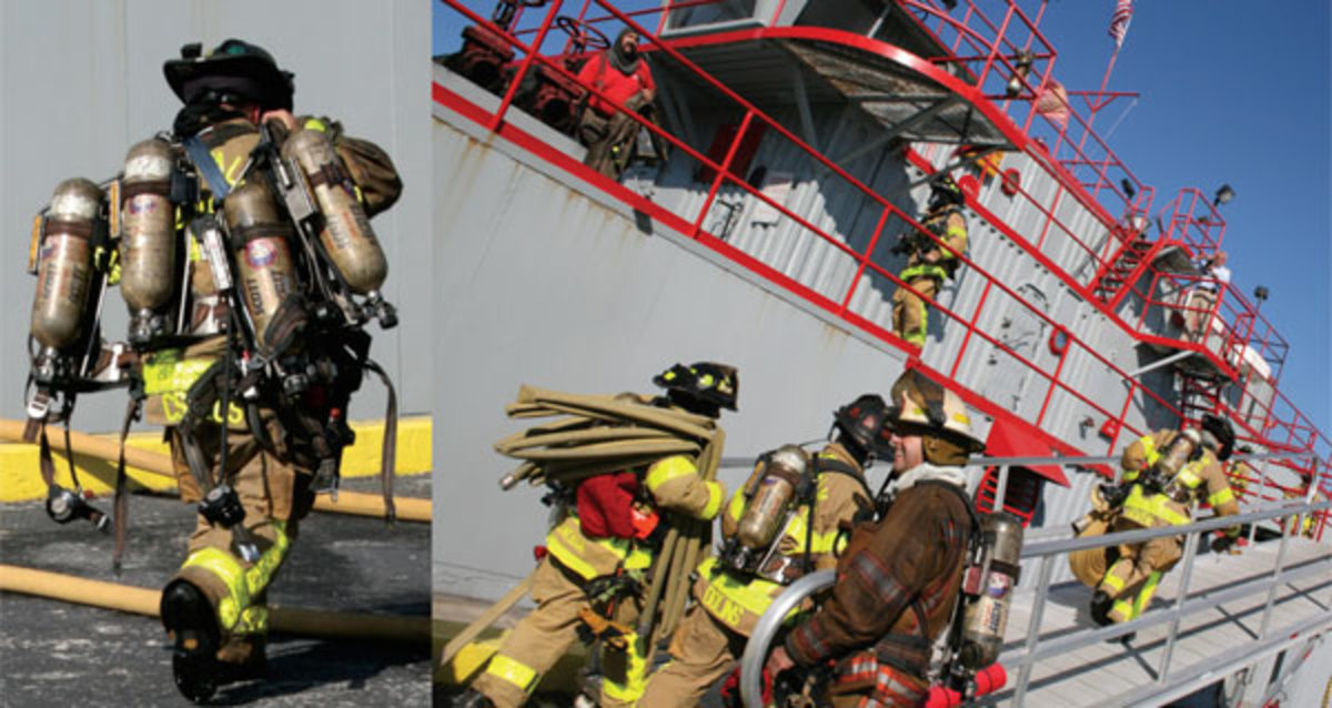 At the start of the exercise a firefighter from West Palm Beach exhibits a superb level of physical fitness by lugging about 100 pounds of breathing apparatus (left) while the rest of his colleagues prepare for a yacht-fire simulation exercise inside the T/V Gray Manatee.