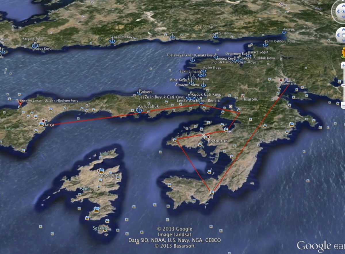 Here is our route through Datca, as the crow flies. (I described these areas in email #1 and 2) The points on the route are our stops.