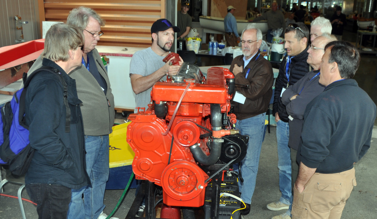 The hands-on portion of the diesel seminar features running engines.
