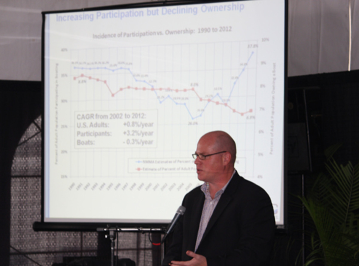 Nate Fristoe speaking to media members at FLIBS.