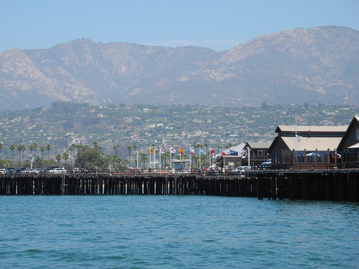 Santa Barbara's vast beaches run against a beautiful backdrop of Santa Ynez mountains.