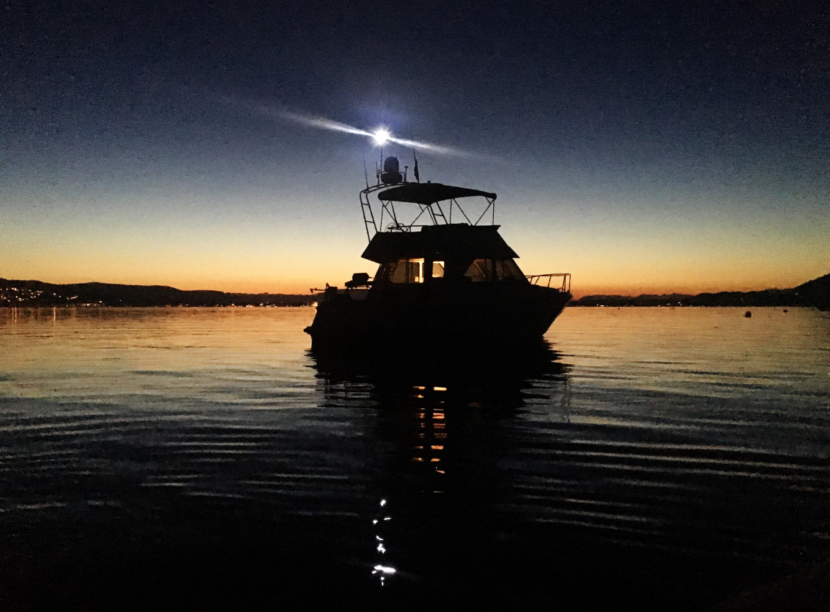 Curt Rayner's Lindell 36, M/V Griffon, on the hook intheCanadian Gulf Islands, Curt's home cruising grounds. © Curt Rayner