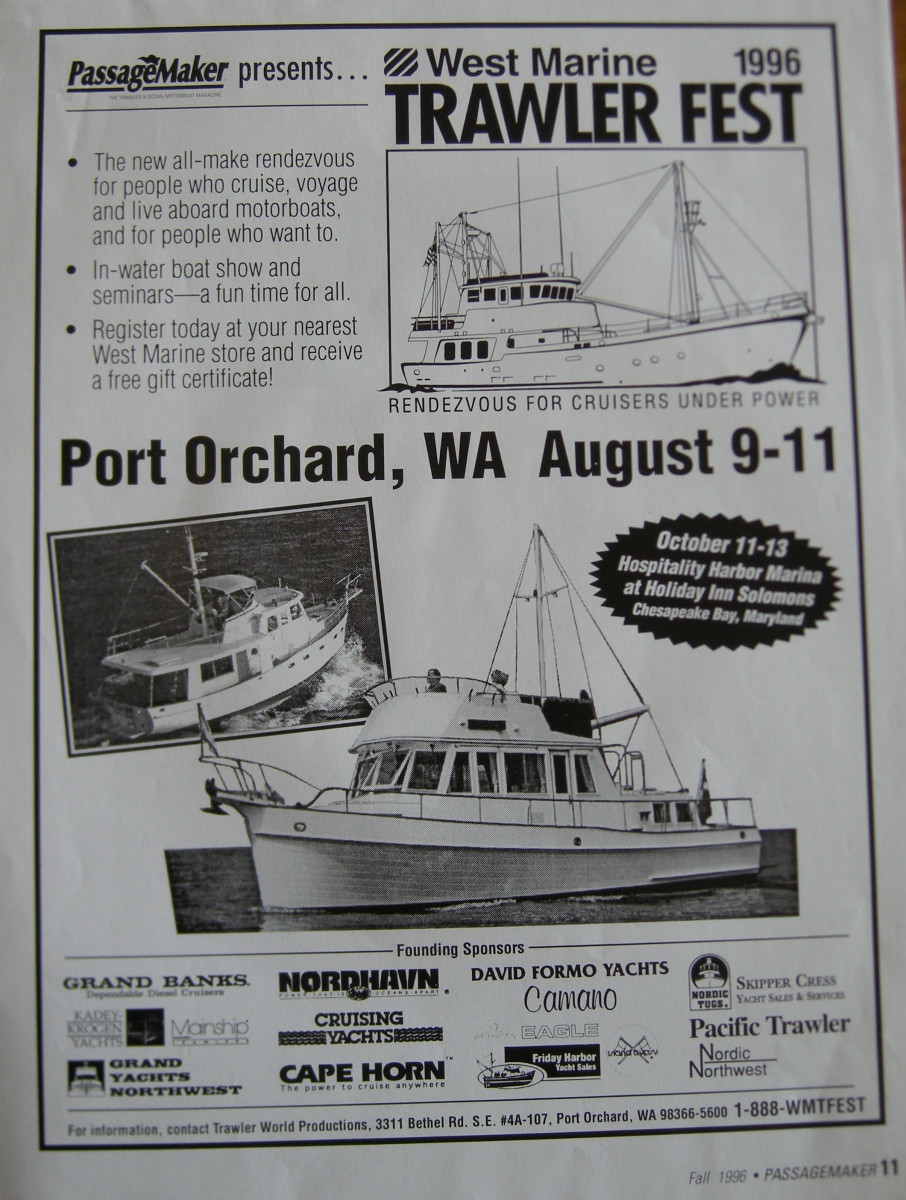 TrawlerFest's first advert, appropriately appearing in the pages of PassageMaker.