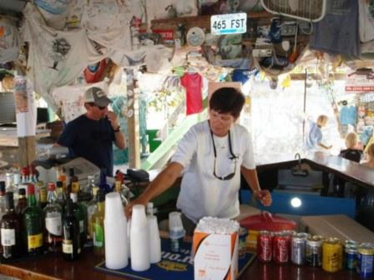 "One of my favorite sights in all the Abacos is Carol pouring her signature ""blaster"" at Pete's Pub."