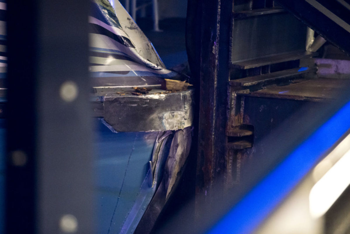 A photo of the damage that occurred to the bow on the starboard side of the ferry.