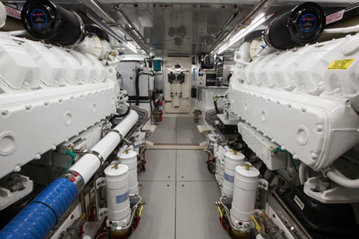 The 78's engine room is designed for easy access to all the motoryacht's vitals.