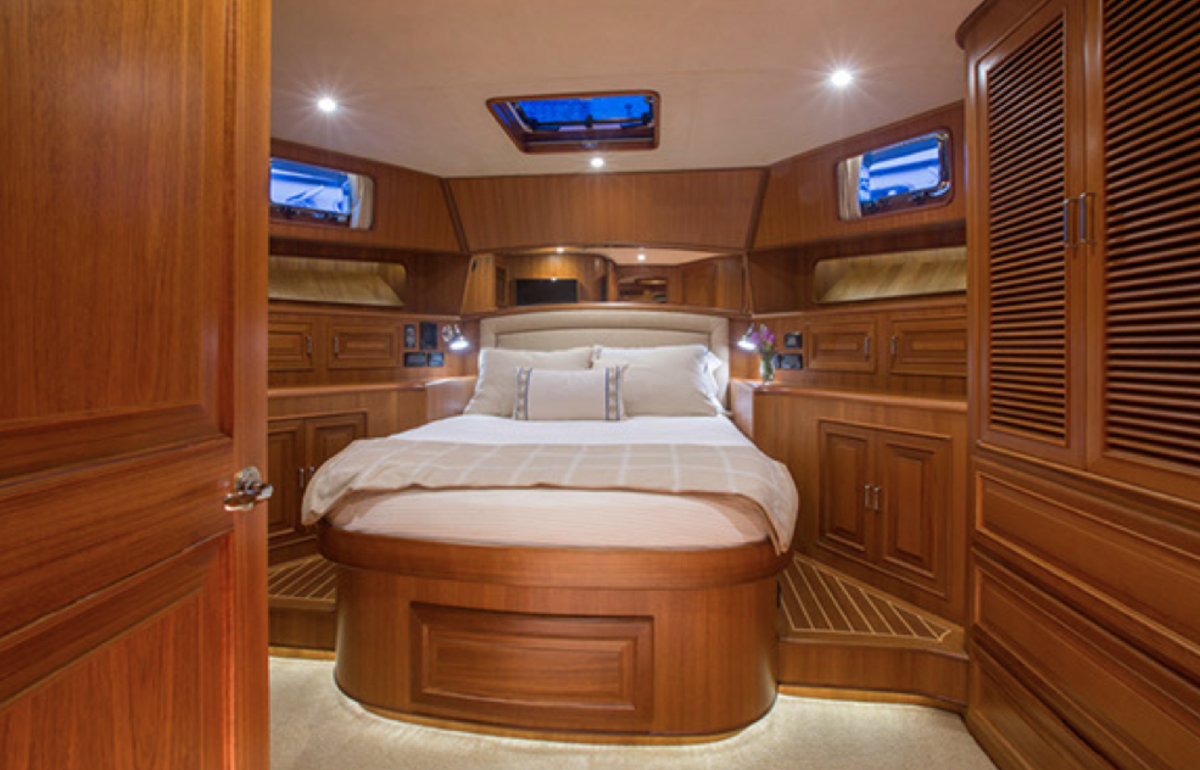 The guest stateroom can come as a queen, providing guests a private escape aboard.
